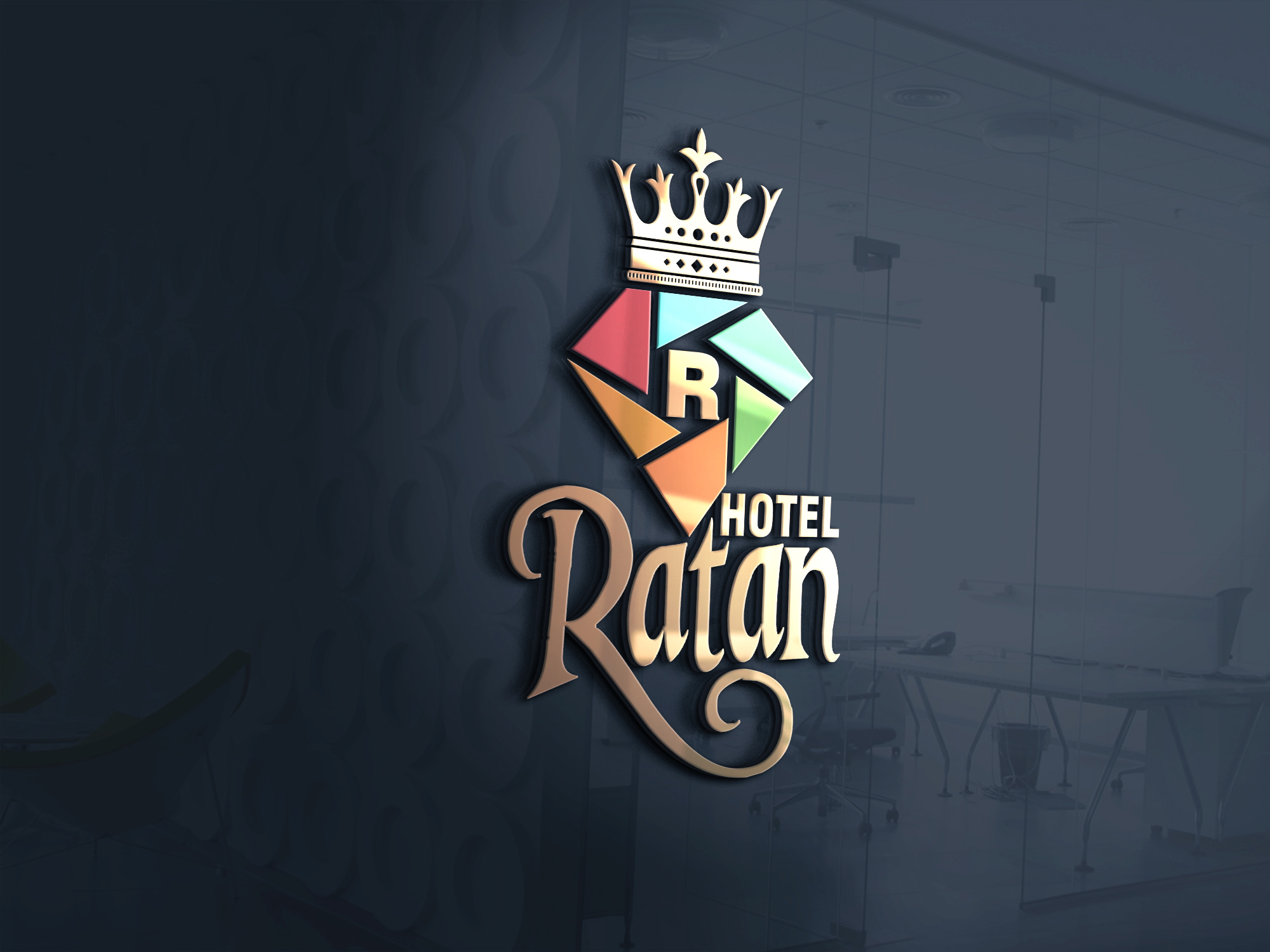 Hotel Ratan diamond shape logo design by Badri design