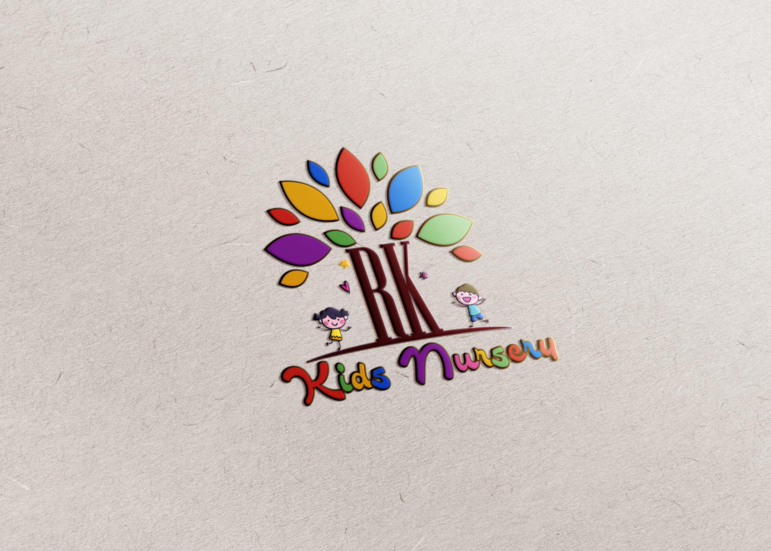 Kids Nursery logo design with children playing concept by Badri Design