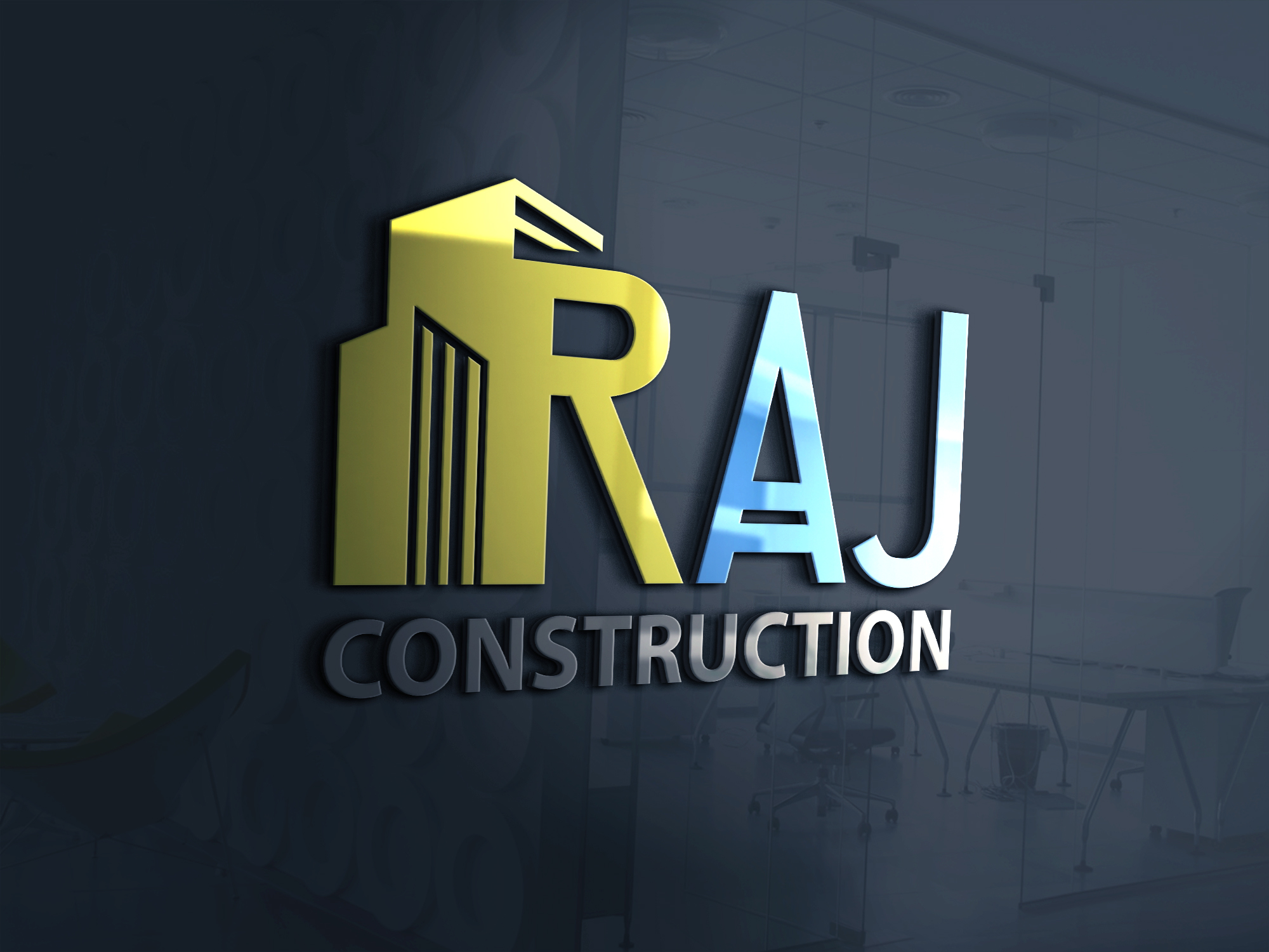 Raj contraction company logo design by Badri Design