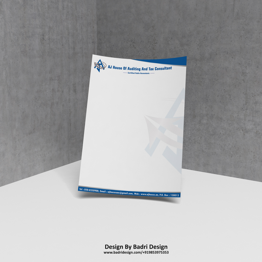 AJ house Dubai auditing and tax consultant company letterhead design by Badri design