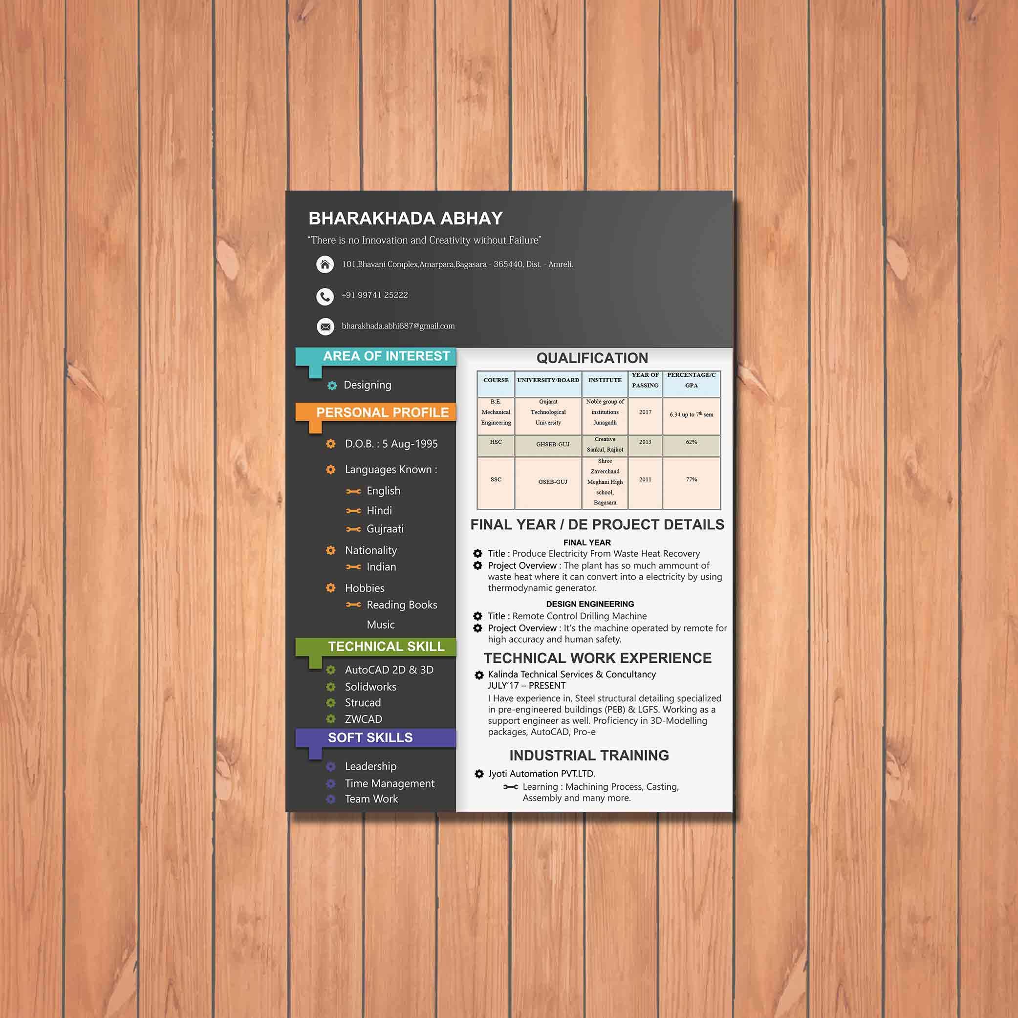 Design engineer resume design by badri design