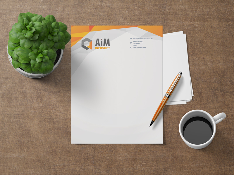 Aim Infotech company corporate letterhead design by Badri Design