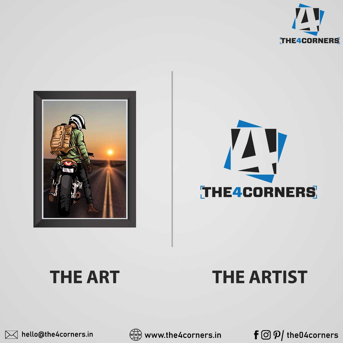 art and artist trending post design for the4corners ecommerce company by Badri Design