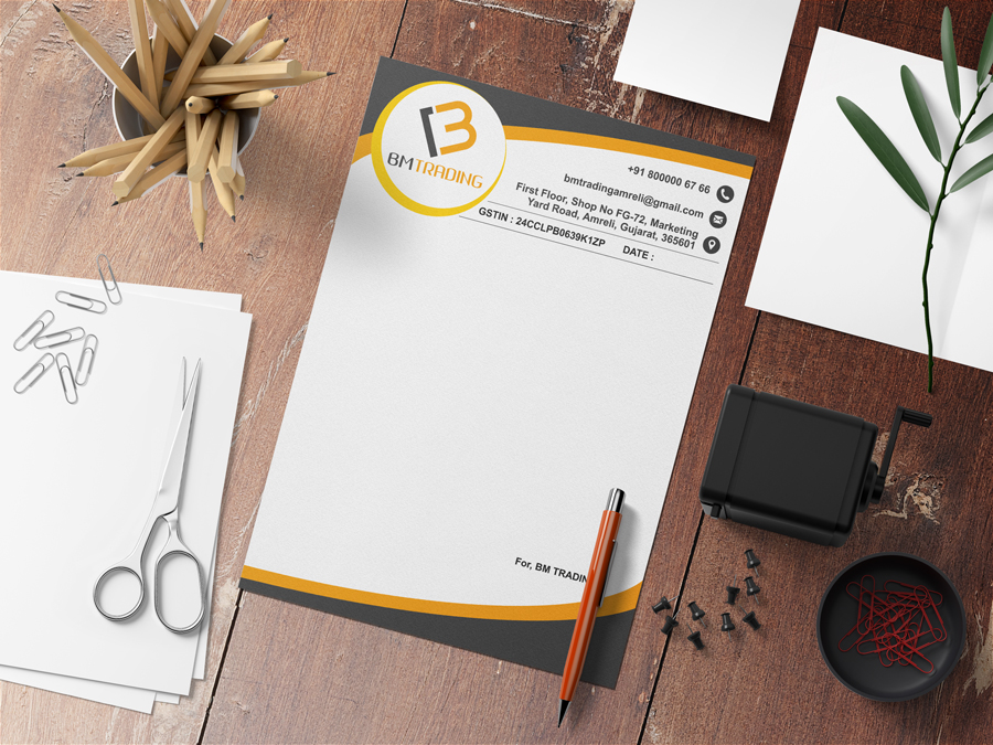 BM trading company letterhead design by Badri Design