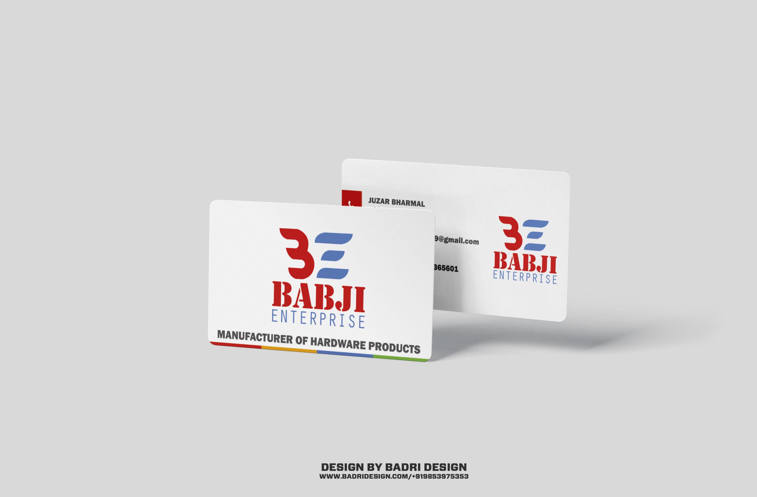Babji Enterprise manufacturing company business card design by Badri Design