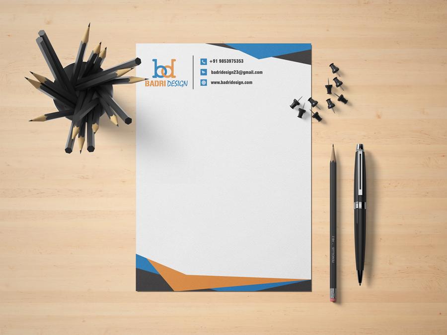 Graphic design company letterhead design by Badri Design
