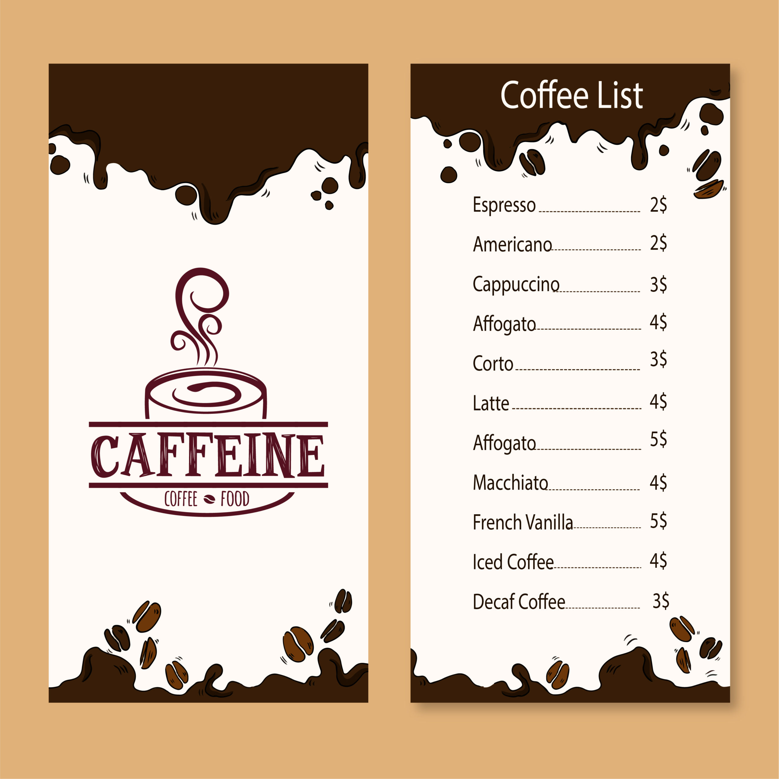 Caffeine and café menu card design by Badri design