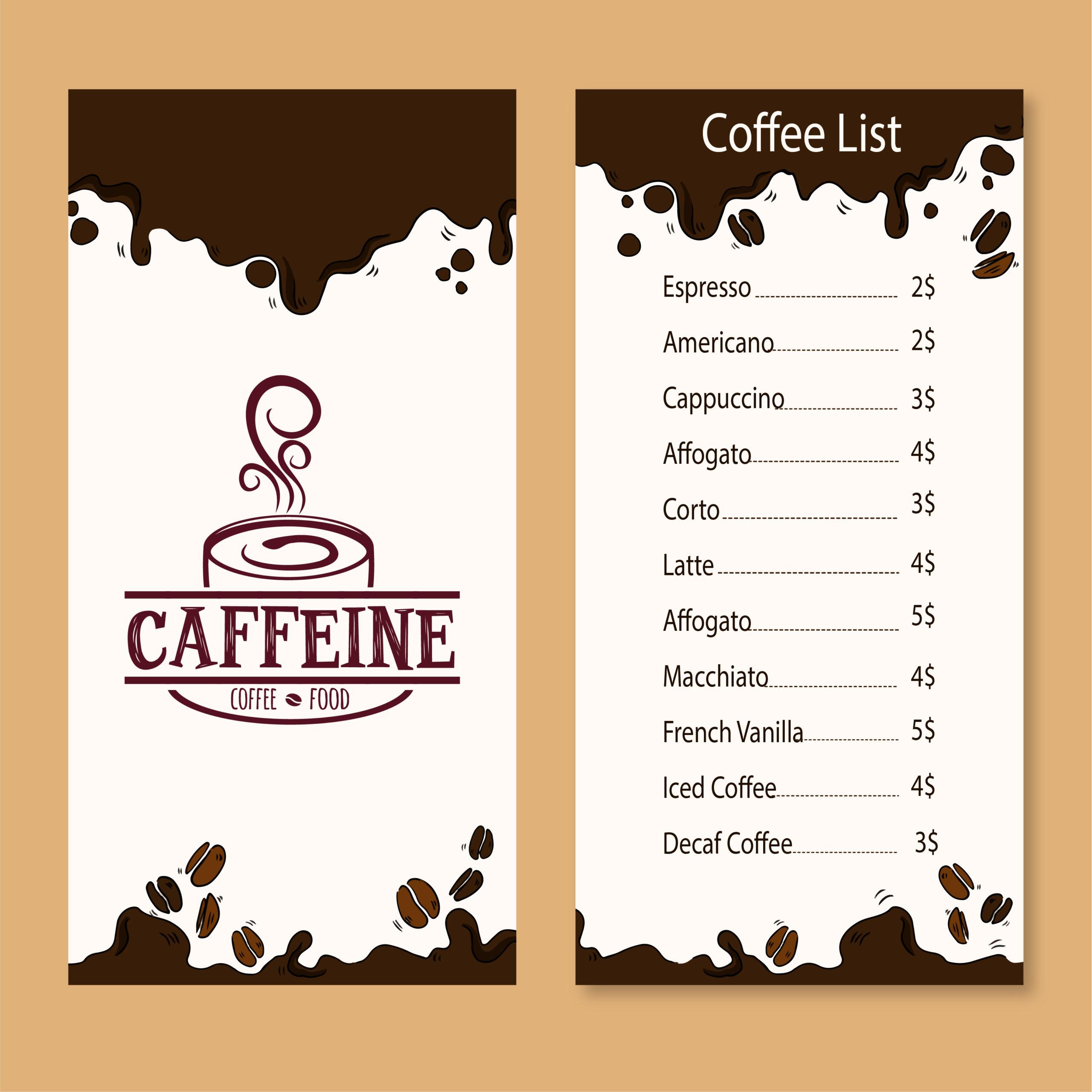 Caffeine and café menu card design by Badri design