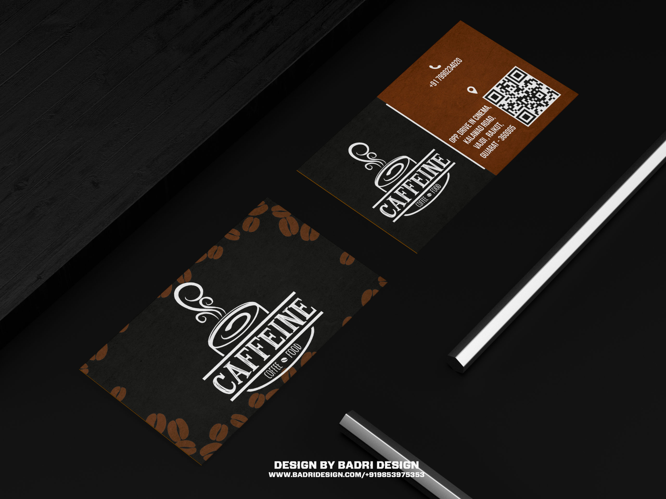 Caffeine and café business card design by Badri design