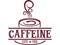 Food and cafe logo design for caffeine by badri design