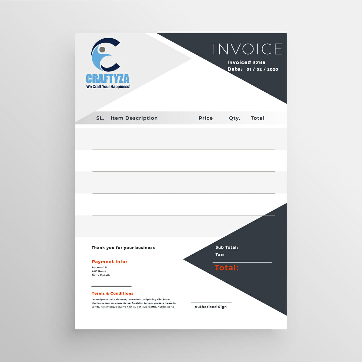 Invoice Design for gift and customized ecommerce website by Badri Design