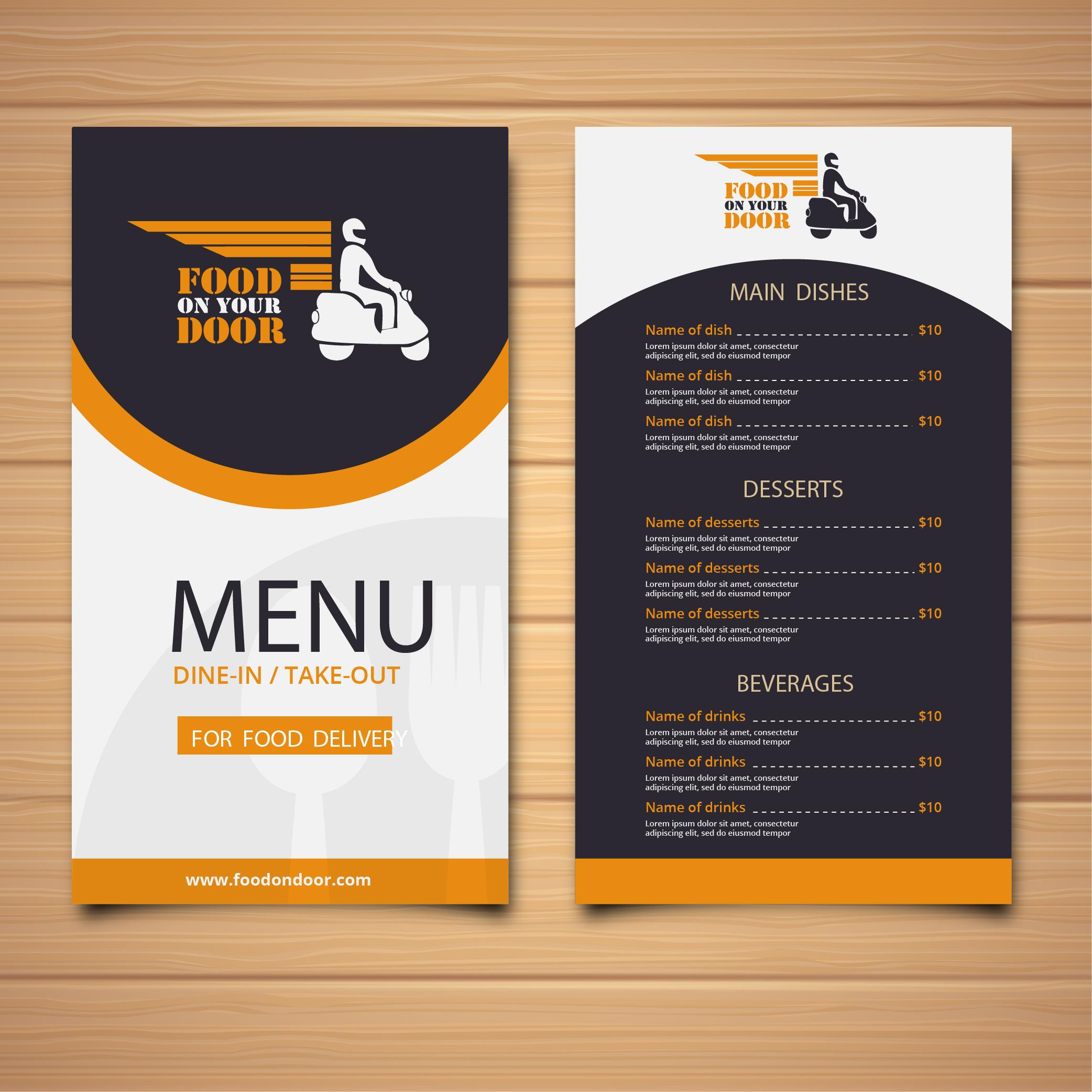 Food Delivery services provider menu card design by Badri Design