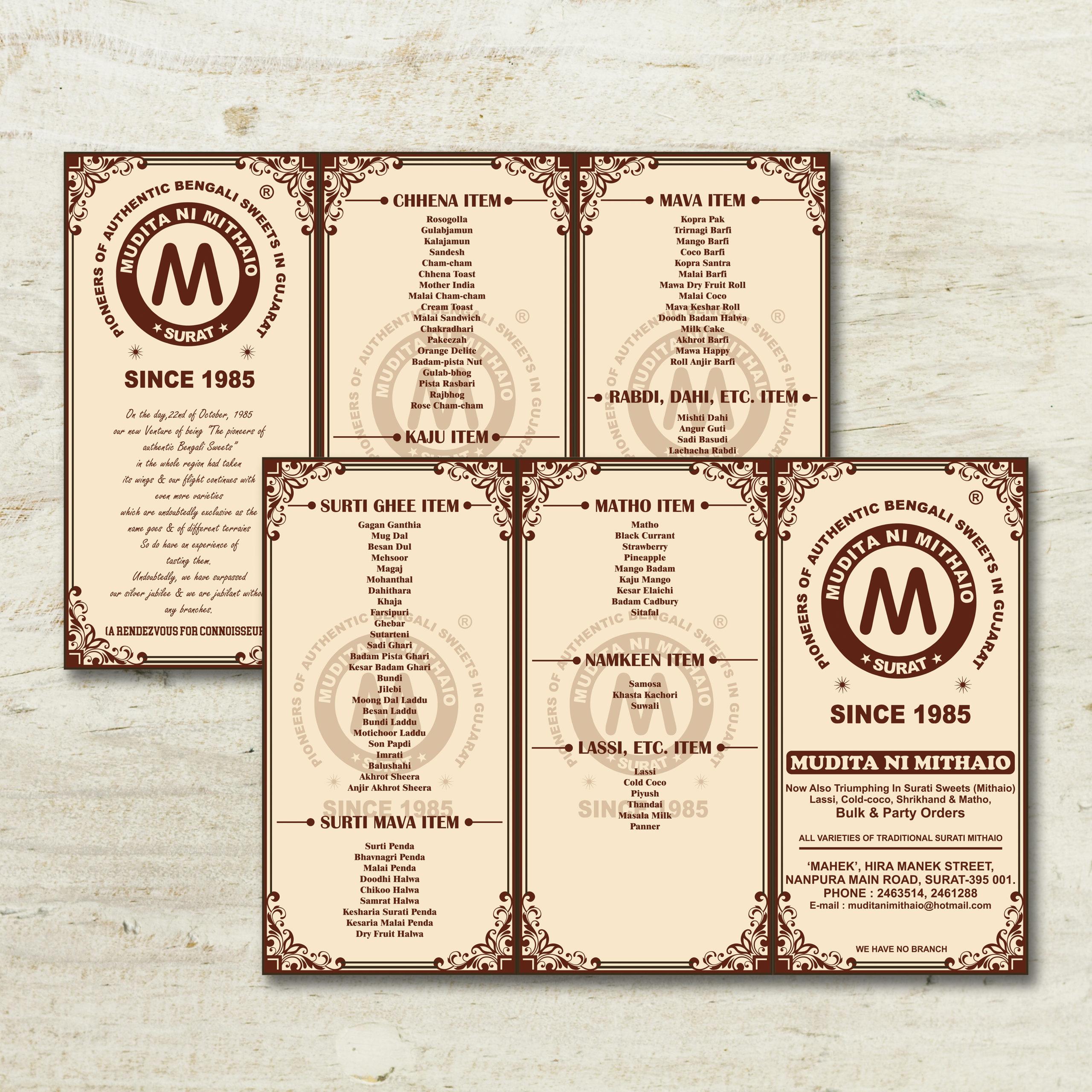 Mithai shop tri fold menu card design by Badri Design