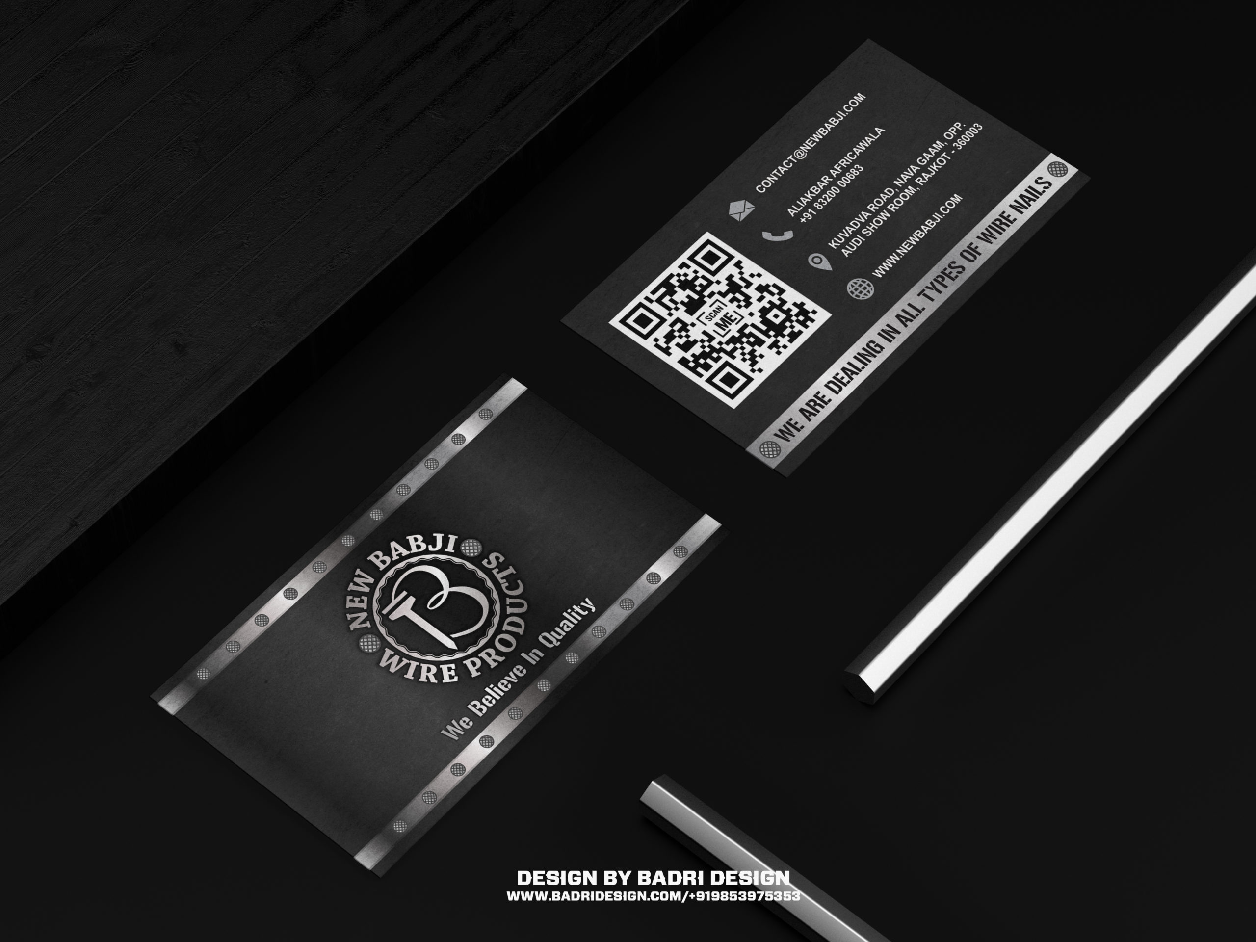 Manufacture of wire and nails company business card design by Badri Design