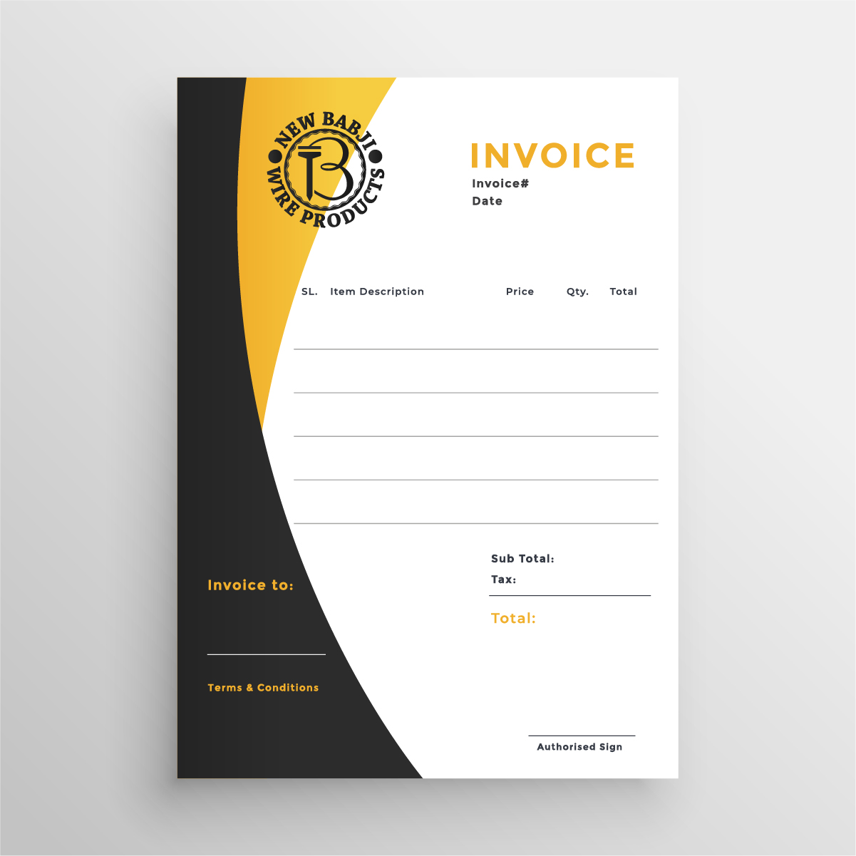 Invoice design for manufacturing company by Badri design