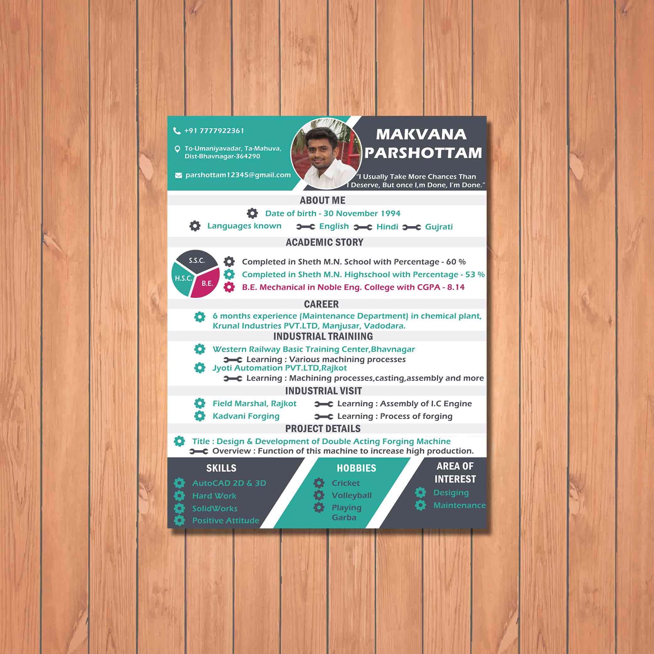 Creative Resume Design for Maintenance client by badri design