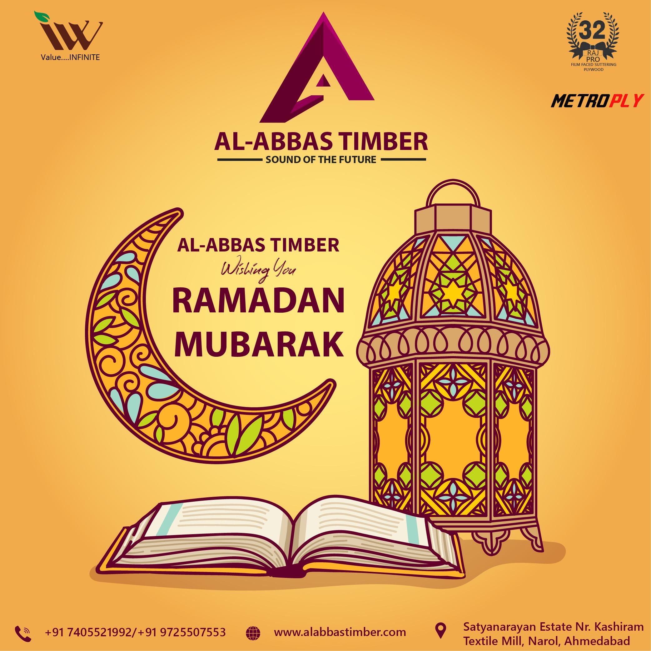 Ramadan mubarak festival post design for al abbas timber by badri design