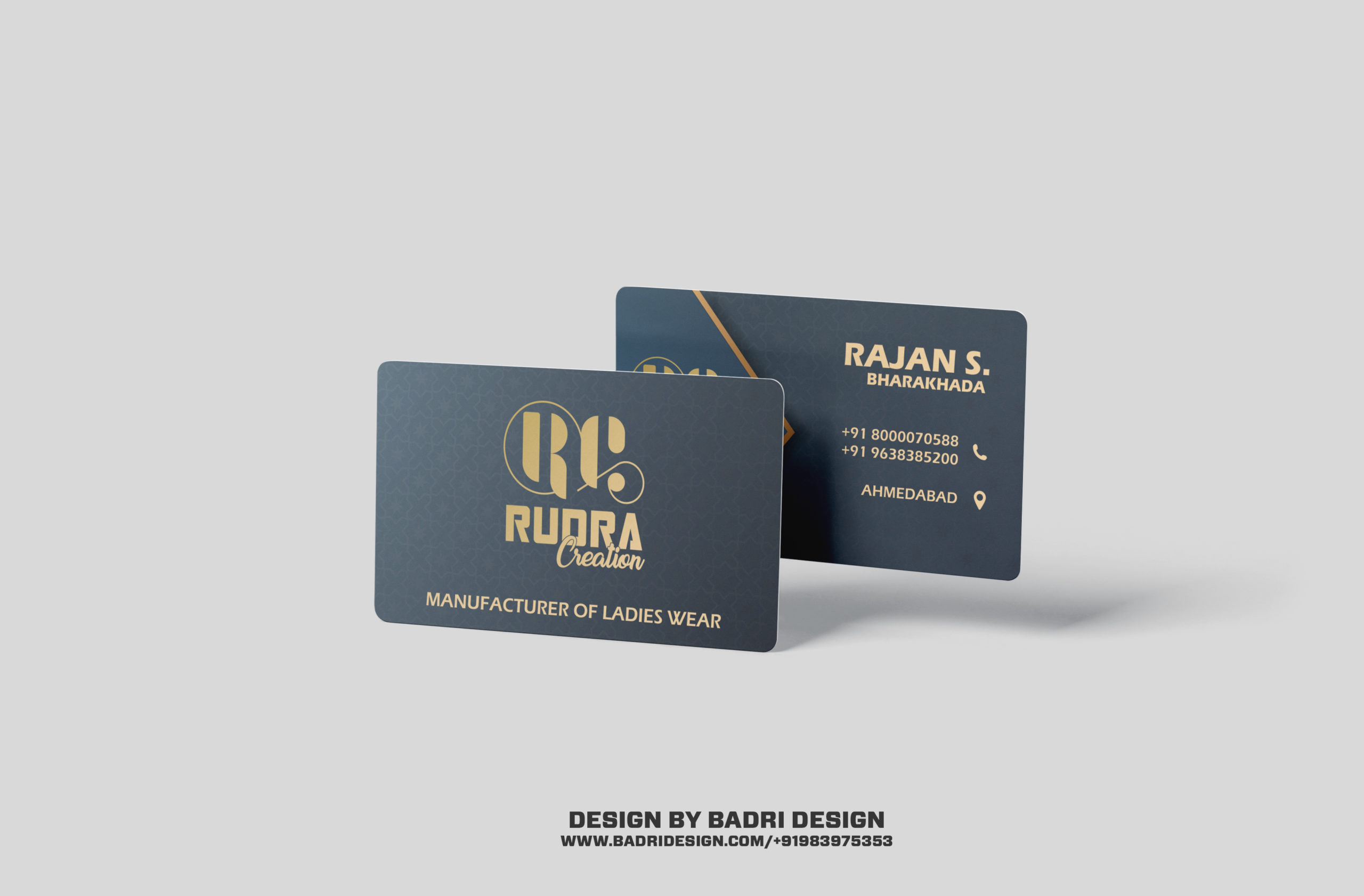 Rudra creation garment shop business card design by Badri Design
