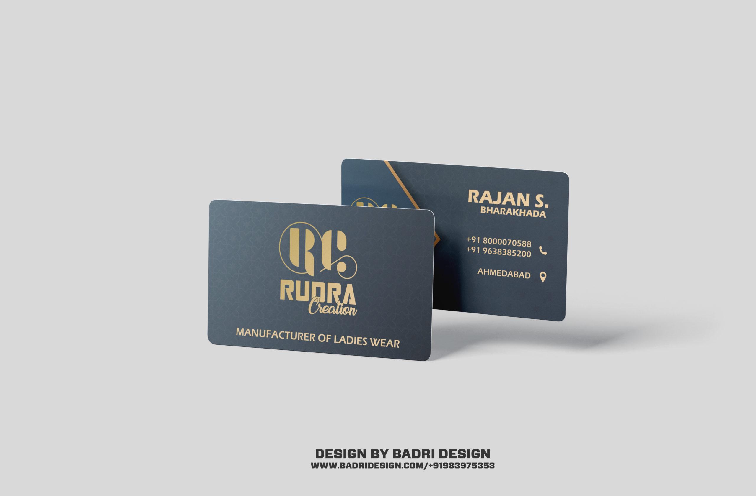 Rudra creation garment shop business card design by Badri Design