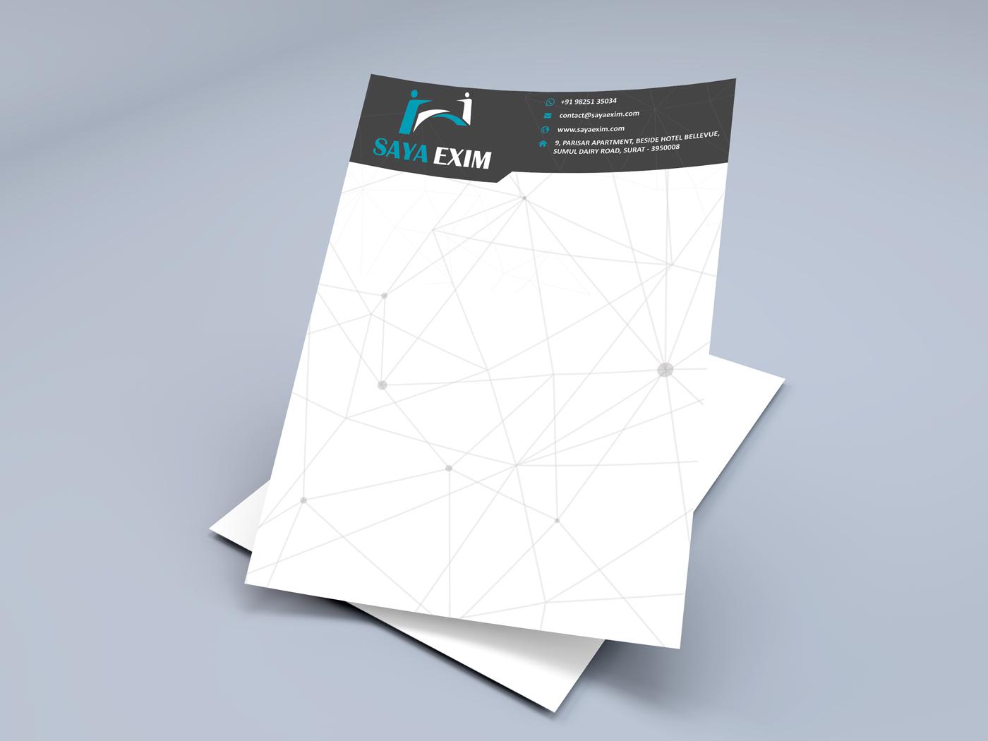 Saya Exim letterhead design Badri design