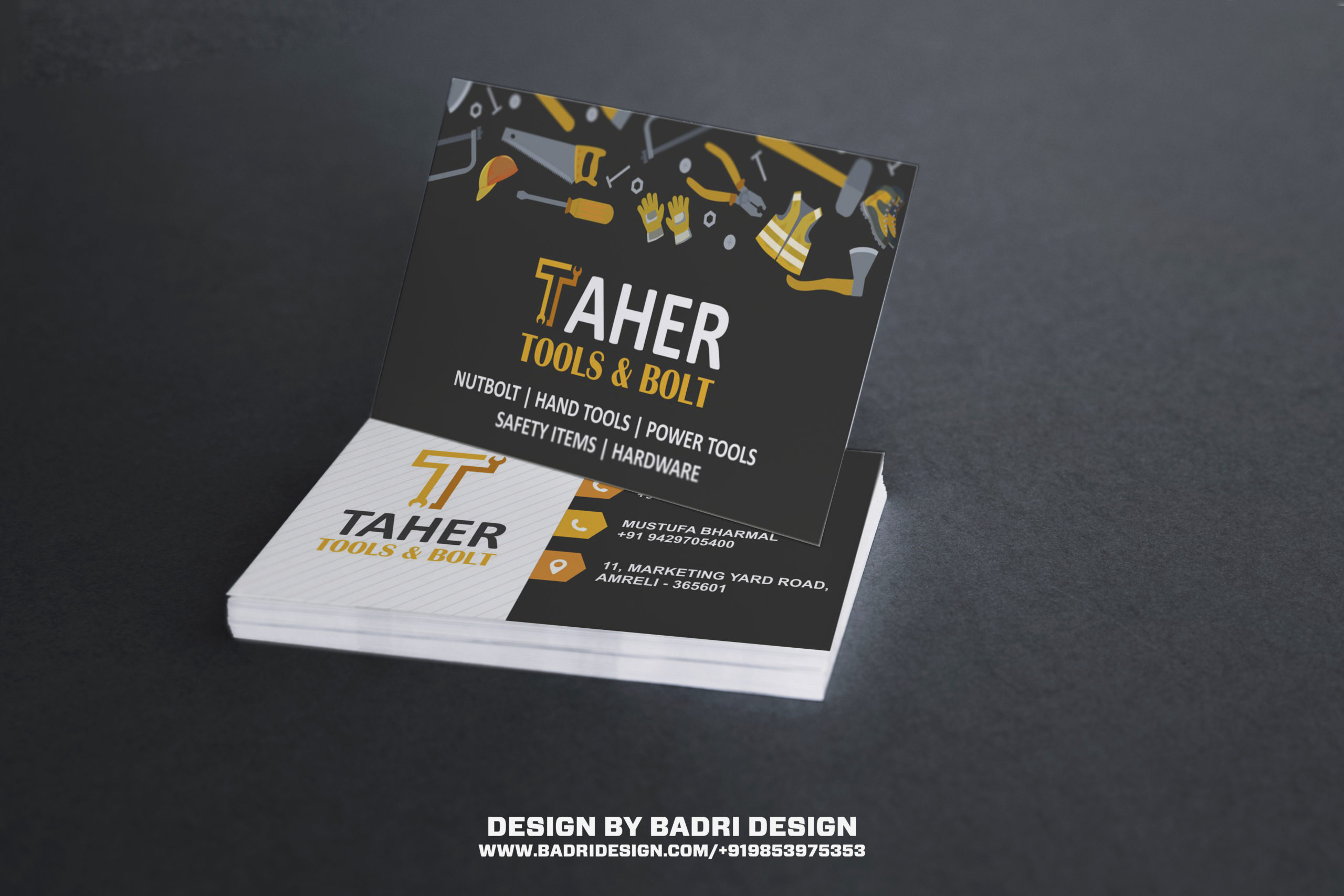 Tools and bolt seller shop business card design by Badri Design