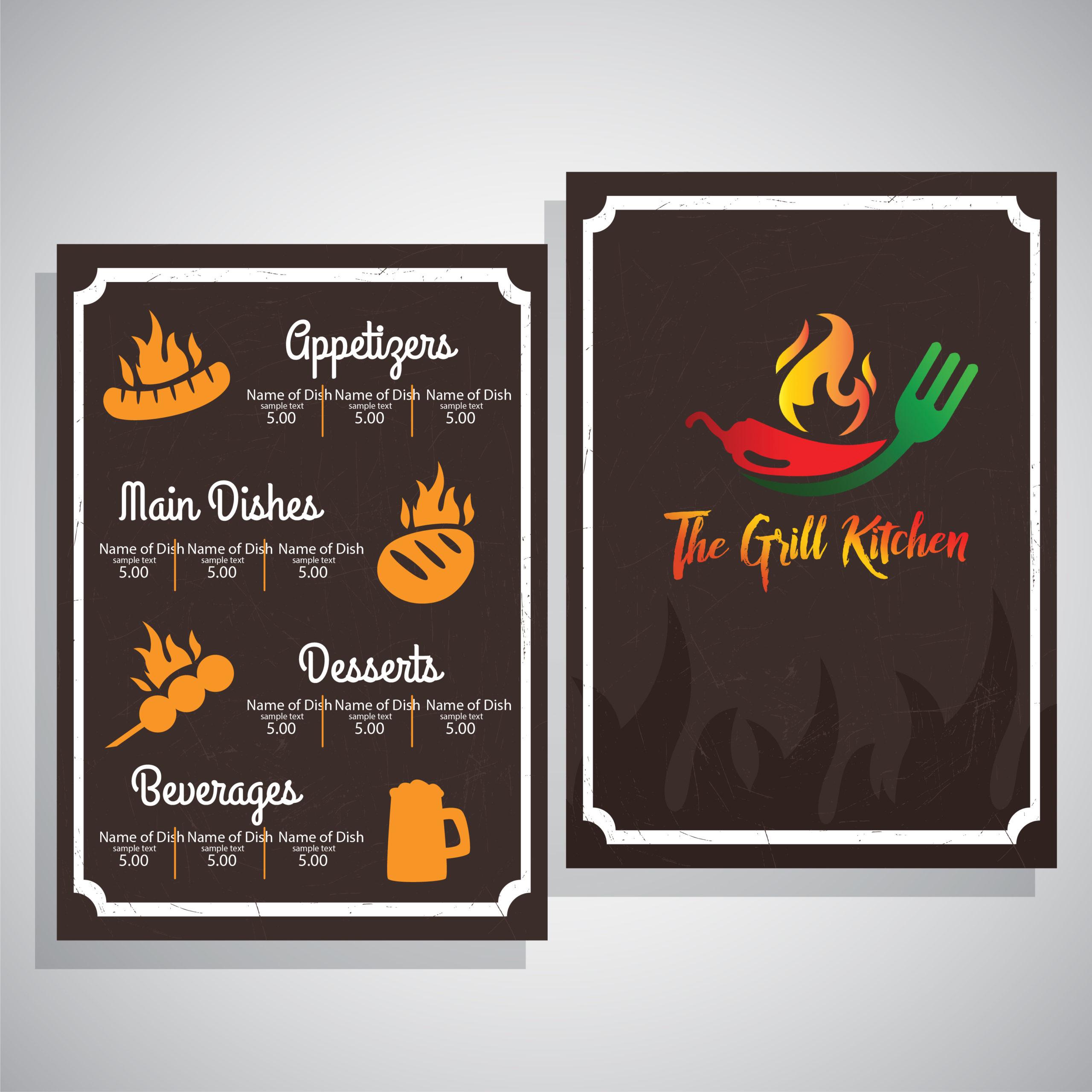 The grill kitchen restaurant menu card design by Badri Design