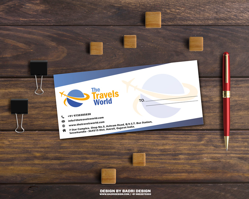 The travels world creative envelope design by Badri design