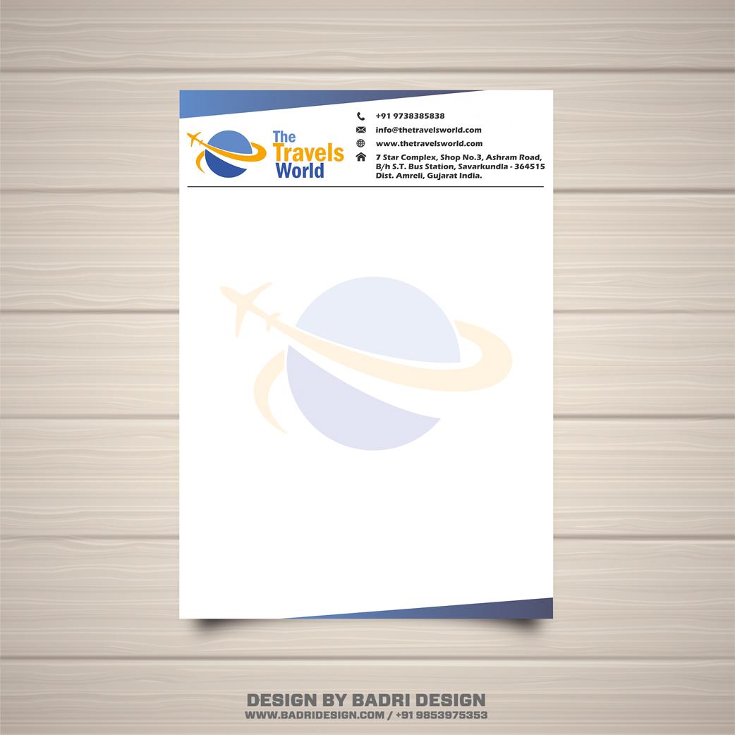 The travels world creative letterhead design by Badri design