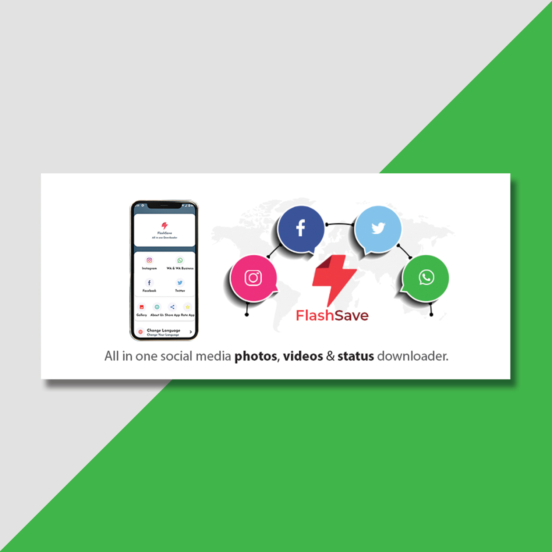 Social media photos and videos download app banner design by Badri Design
