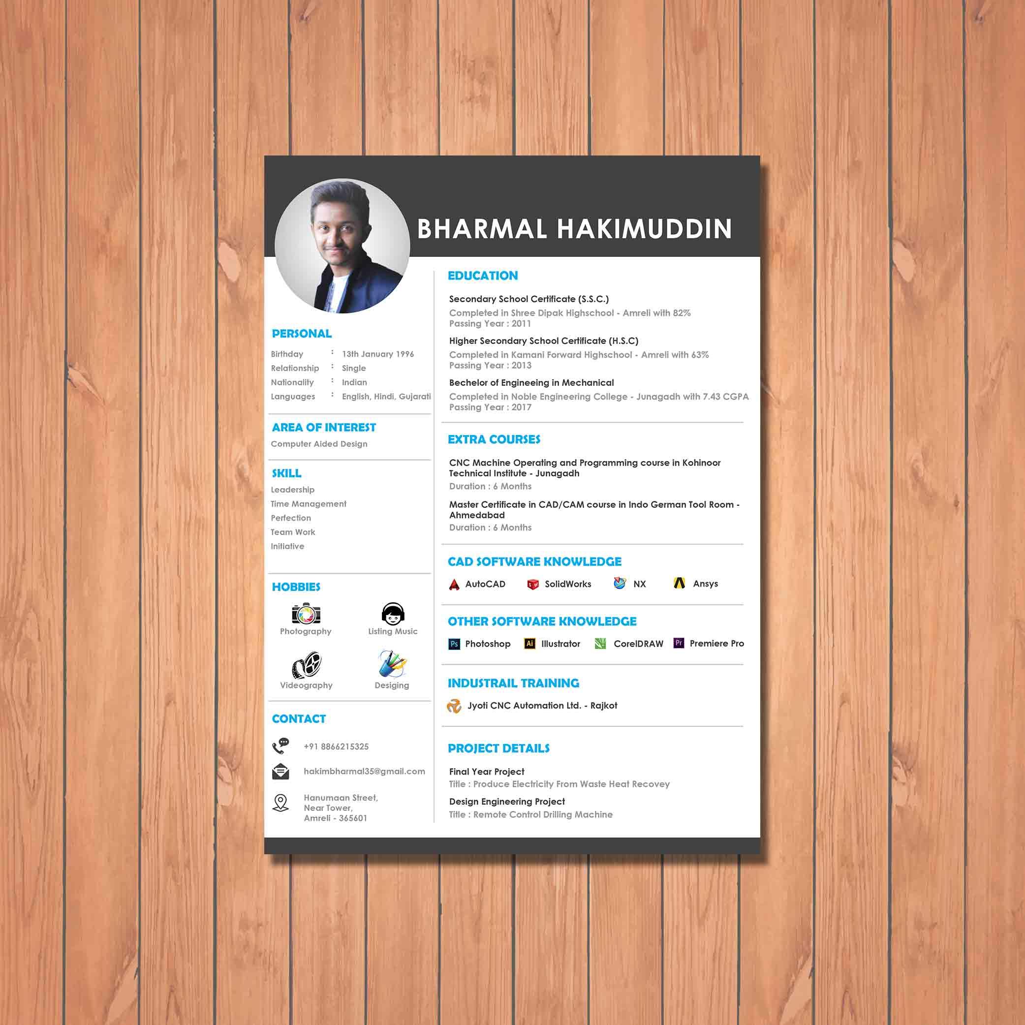 Creative design engineer resume created by Badri Design