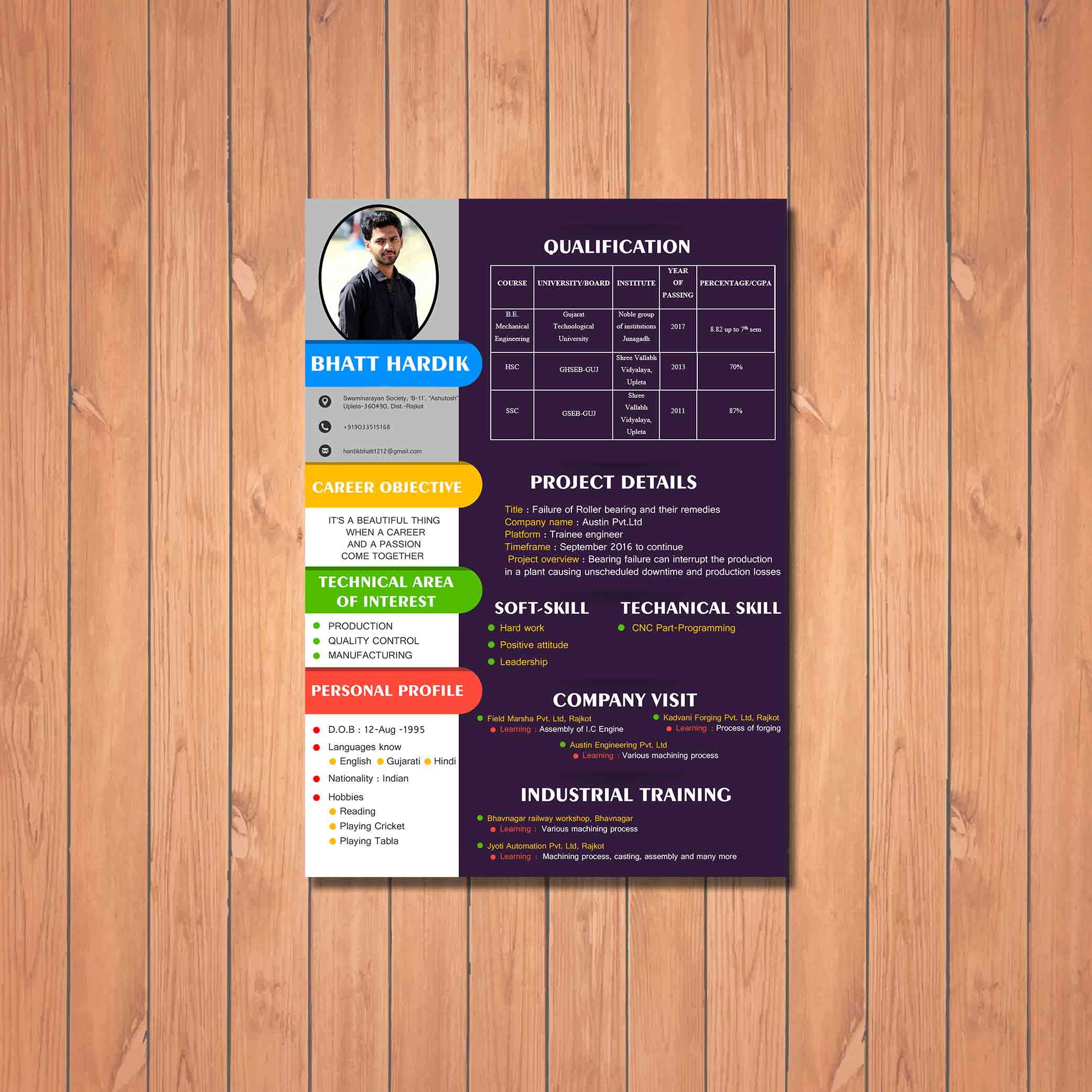 creative designed resume for production client by badri design