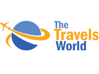 World Travels company airplane and earth logo design by badri design