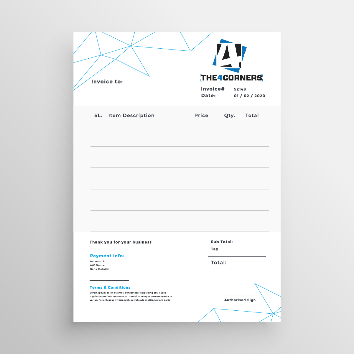 Invoice design for ecommerce company by Badri Design