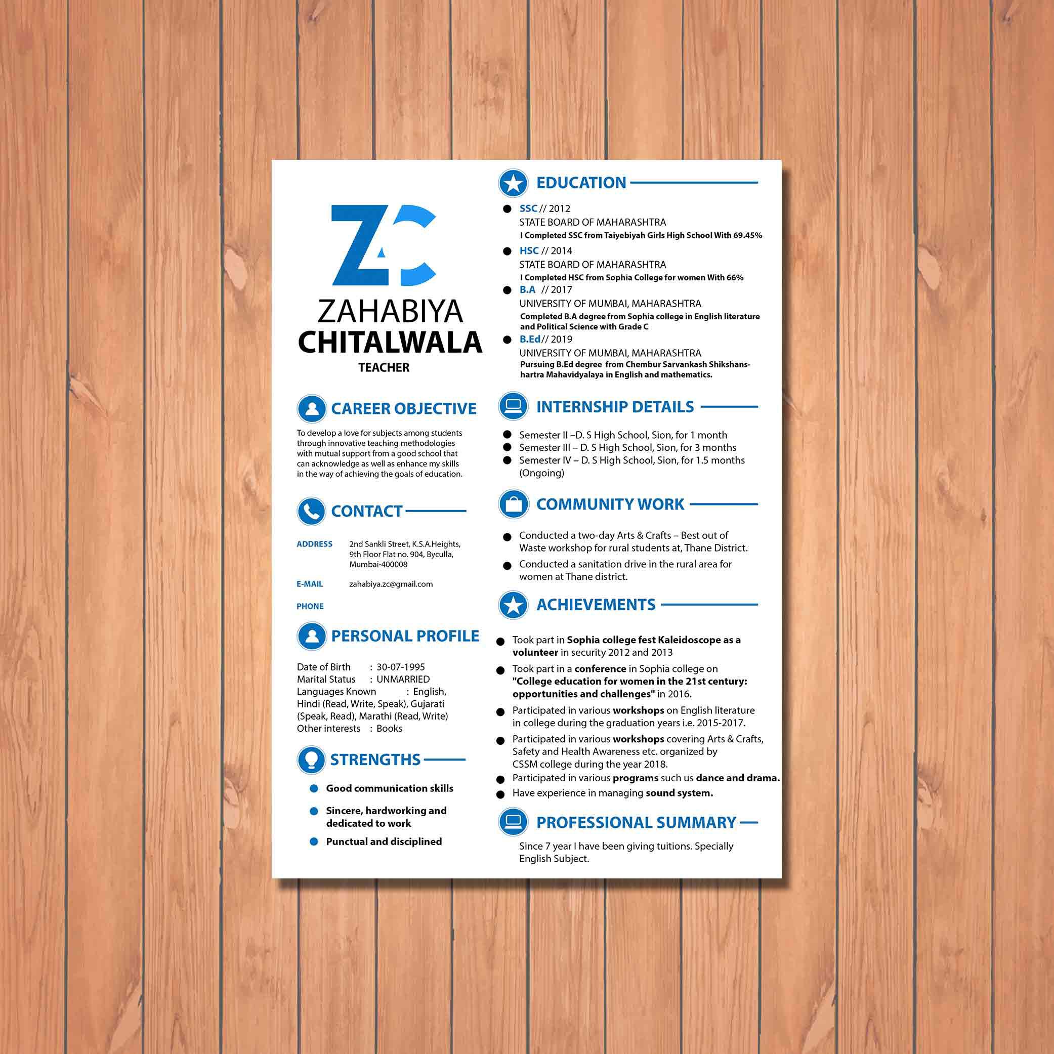 designed resume design for teacher by badri design